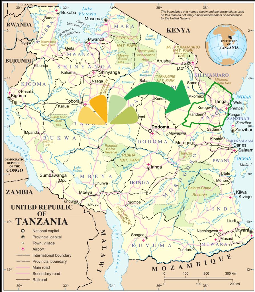 Map of Tanzania - Tanga